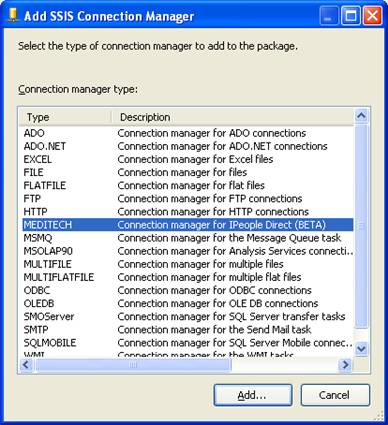 SSIS Connection Manager showing MEDITECH